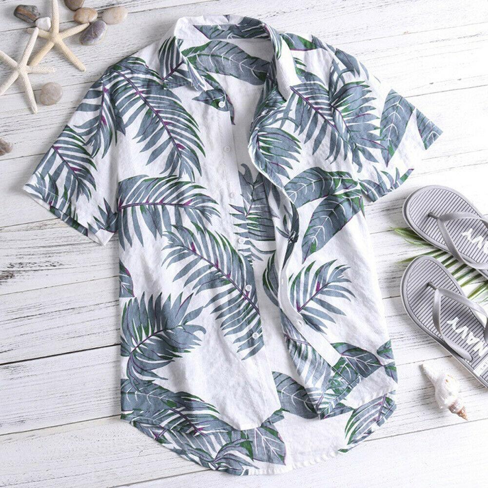 Hawaiian Shirt Mens Summer Floral Print Beach Short Sleeve Casual Luau Shirt Tops Holiday Shirts Tops