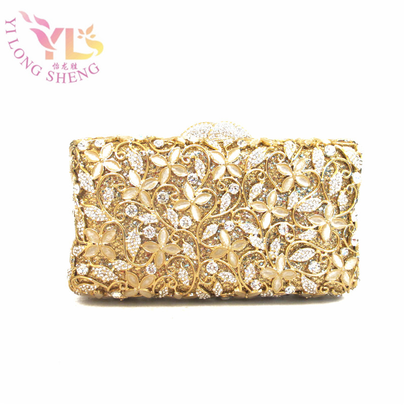 Luxury Little Flowers Gold Gem Mosaic Minaudiere Box Case Diamonds Lady Event Evening Clutch Bag Designer Day Clutches YLS-J01 faux crystal mosaic clutch evening bag