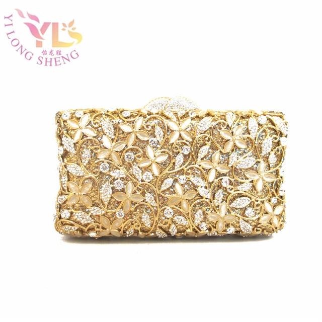 Luxury Little Flowers Gold Gem Mosaic Minaure Box Case Diamonds Lady Event Evening Clutch Bag Designer