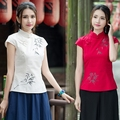Chinese traditional clothing 2017 women ethnic short sleeve mandarin collar blouse summer cheongsam shirt female ropa mujer CJ41