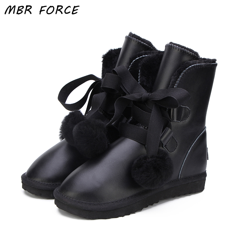 MBR FORCE High Quality Australia Classic Fashion Genuine Leather UG Snow Boots Women Warm Winter waterproof Shoes For Women