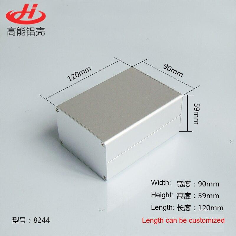 1 piece Sliver color aluminum housing case for electronics project case 59(H)x90(W)x120(L) mm 8244 215 52 263 mm w h l aluminum extruded enclosures housing project box case