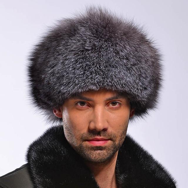 Мужская Зимняя Шапка 2016 Подлинная Silver Fox Меховой Шапки Мужчин крышка Монгольский Стиль Конного Шляпы Кожа Ведущие Российские Мужчины Зима шляпа