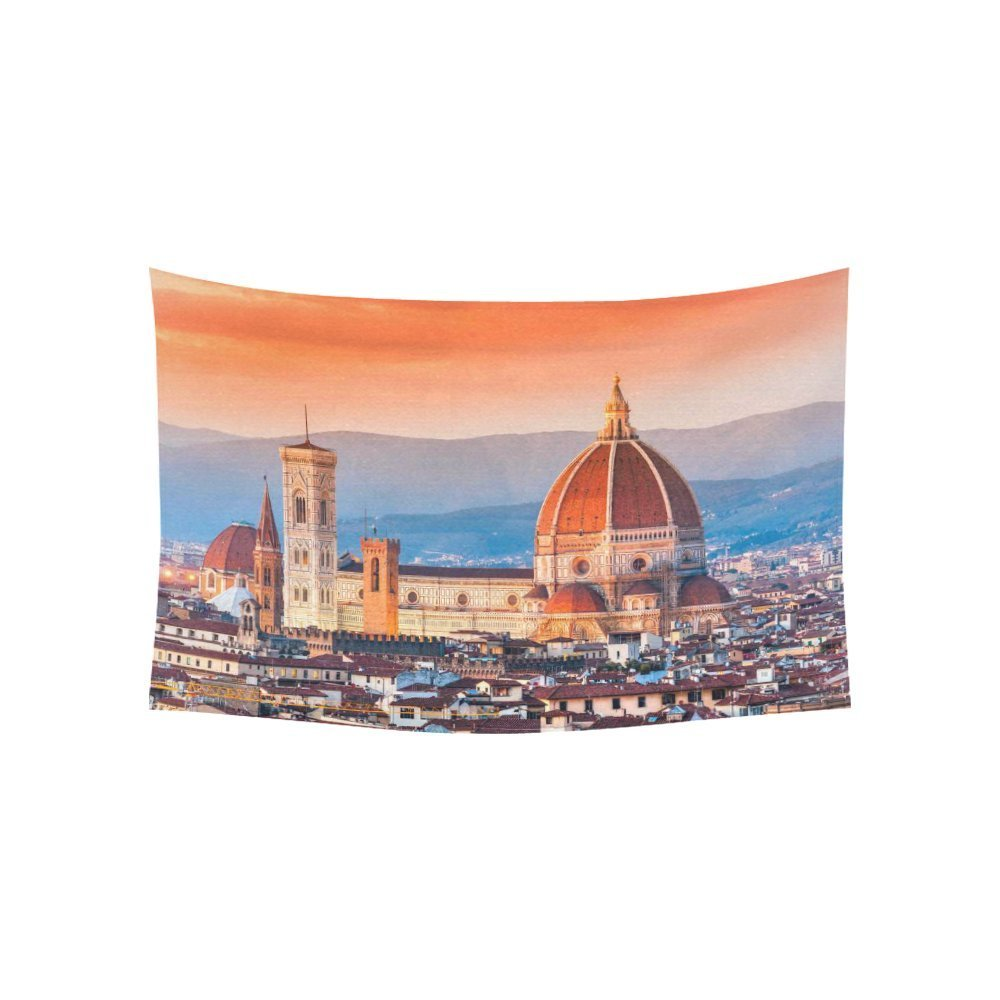 Cityscape Wall Art Home Decor, Sunset View on Florence and Duomo Cathedral, Italy Tapestry Wall Hanging Art Sets