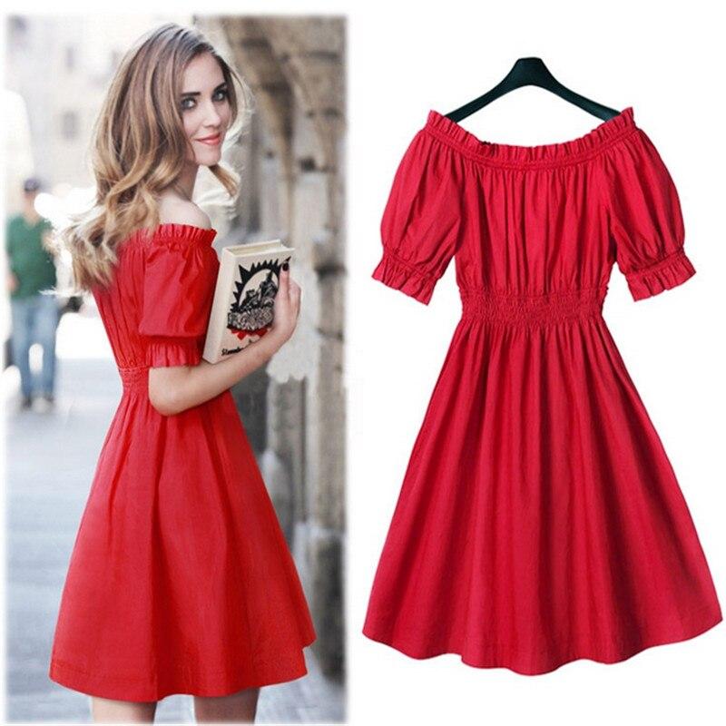 Red Sexy High Waist Women Summer Chiffon Mini  Dress Ruffles Slash Neck Off Shoulder Puff Sleeve