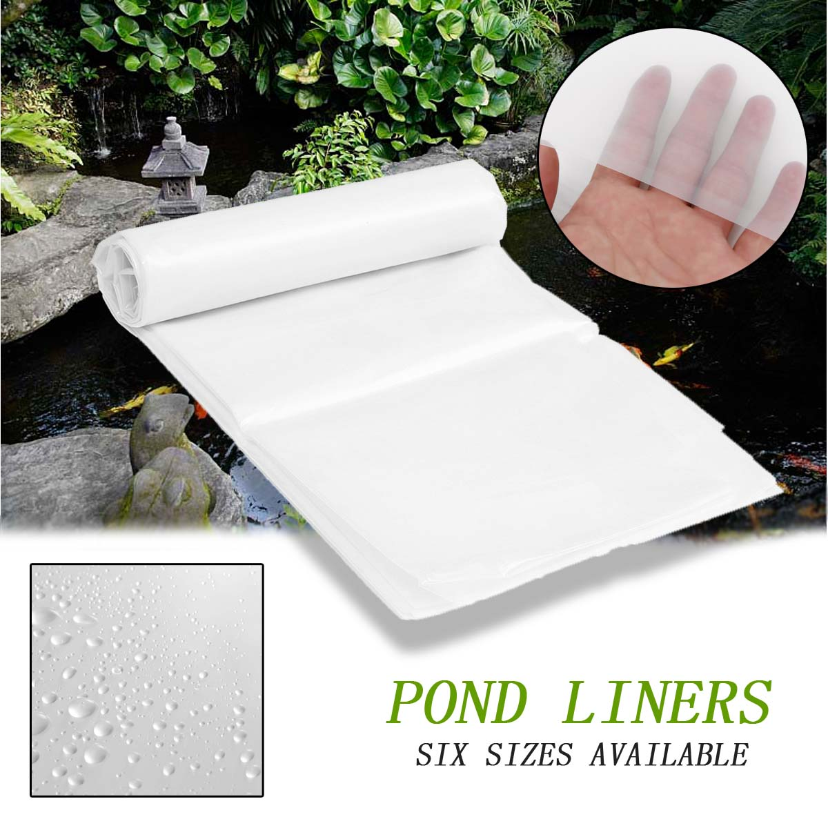 6Sizes White PE Fish Pond Liner Garden Pools Reinforced