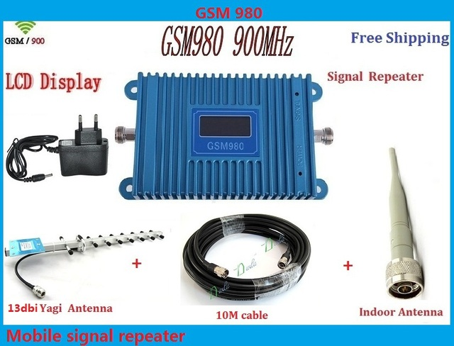 13dbi yagi + display LCD! impulsionadores do sinal de telefone móvel GSM 980 900 mhz, amplificador de sinal de telefone celular GSM repetidor de sinal gsm