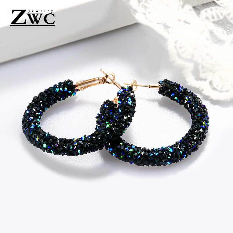 ZWC Vintage Korean Big Earrings for Women Female Fashion Gold Cubic zirconia Drop Dangle Earring Geometric earings Jewelry 2019