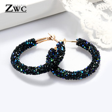 ZWC Vintage Korean Big Earrings for Women Female Fashion Gold Cubic zirconia Drop Dangle