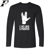 Harajuku Hip Hop New Star Trek T Shirt Live Long Sleeve T Shirt Prosper Tshirt With