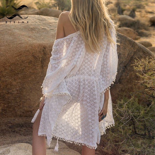 771620bf5ea0 Bikax borla blanco bikini cubierta para arriba verano 2019 moda playa  Vestido Mujer túnica Sexy traje de baño mujer sarong kimono nuevo