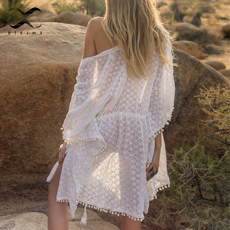 Bikinx Tassel White Bikini Cover Up Summer 2019 Fashion Beach Dress Women Tunic Sexy Swimsuit Cover-ups Female Sarong Kimono New