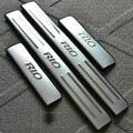 Para KIA k2 RIO 2010 2011 2012 2013 2014 aço inoxidável do peitoril da porta da Placa do Scuff Pedal Bem-vindo Acessórios Do Carro 4 pçs/set