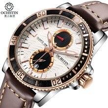 Marque de luxe OCHSTIN Chronographe Casual Montres Hommes Quartz Militaire Sport En Cuir Véritable Hommes de montre-Bracelet relogio masculino