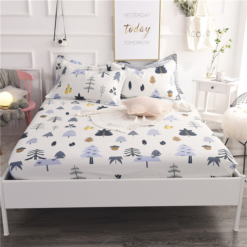 Stylish White Cartoon Tree Pattern 3pc On Sale Home Textile 100% Cotton Bed Sheet Set Solid Bedding Fitted Sheet Set Pillowcase
