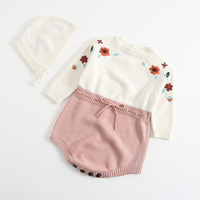 Everweekend Baby Girls Bow Floral Knitted Candy Color Sweater Rompers with Hats Spring Autumn Fashion Toddler Infant Clothing
