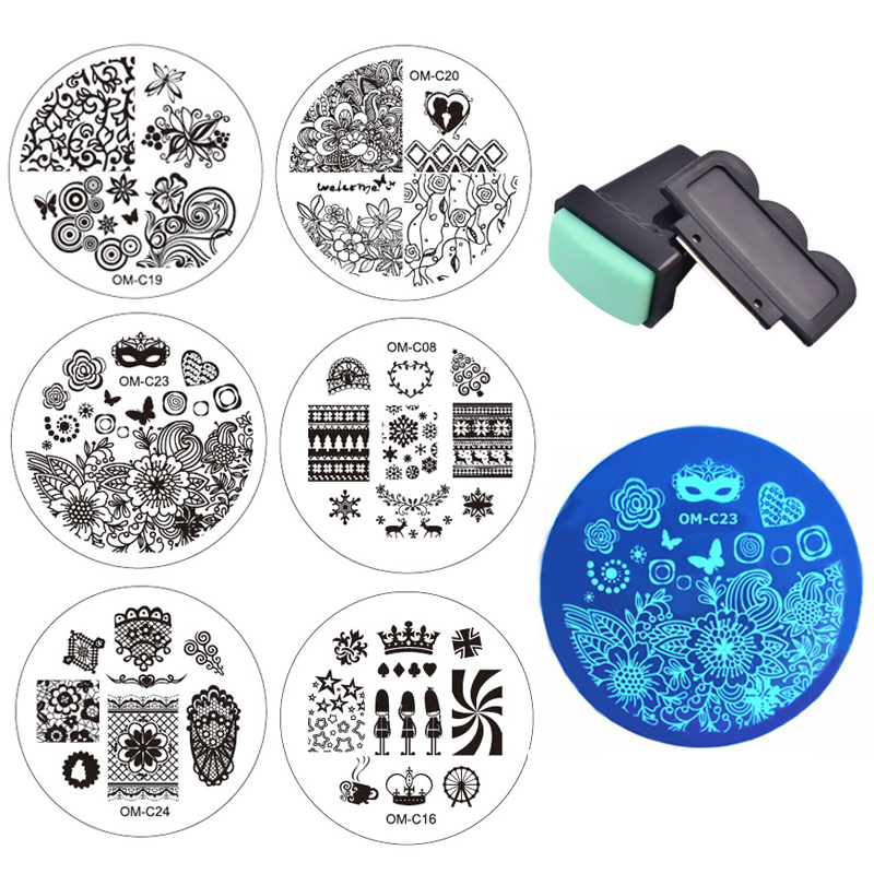 2016 New Designs Nail Art Template 10pcs Plates 1set Nail Stamper Scraper DIY Polish Transfer Stencils