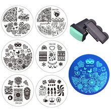 2016 New Designs Nail Art Template 10pcs Plates &1set Nail Stamper Scraper DIY Polish Transfer Stencils Nail Stamping Tools