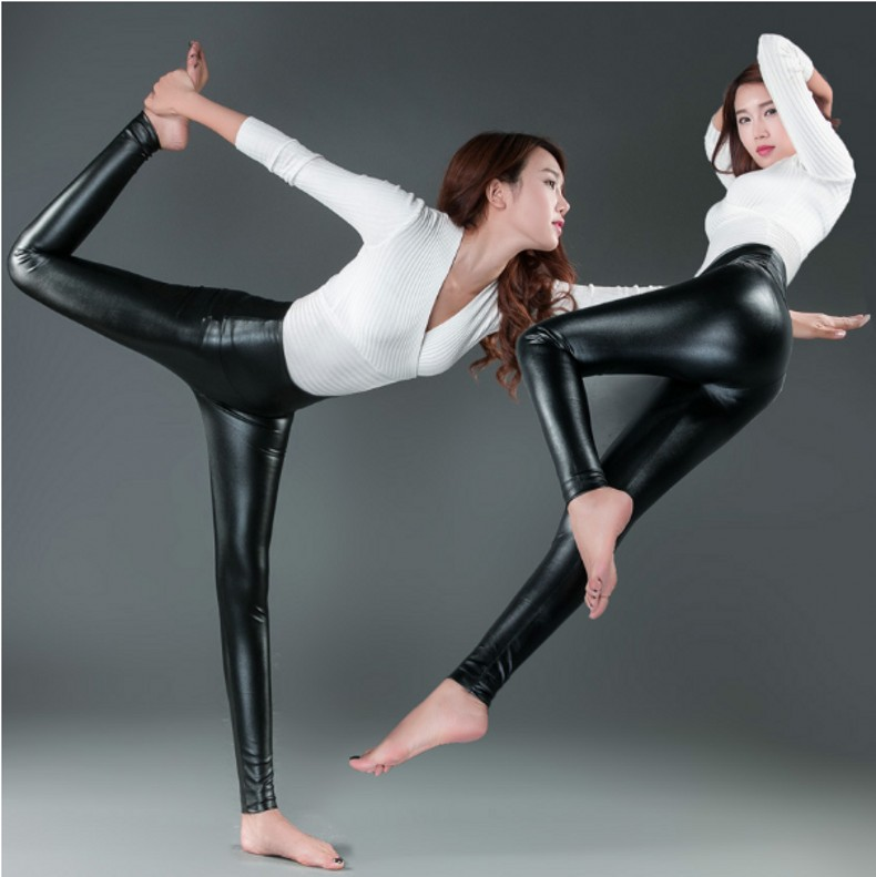 Womens PU Leather Pants High Elastic Waist Leggings Not Crack Slim Leather Leggings Fleece Trousers Women Fashion F80 52