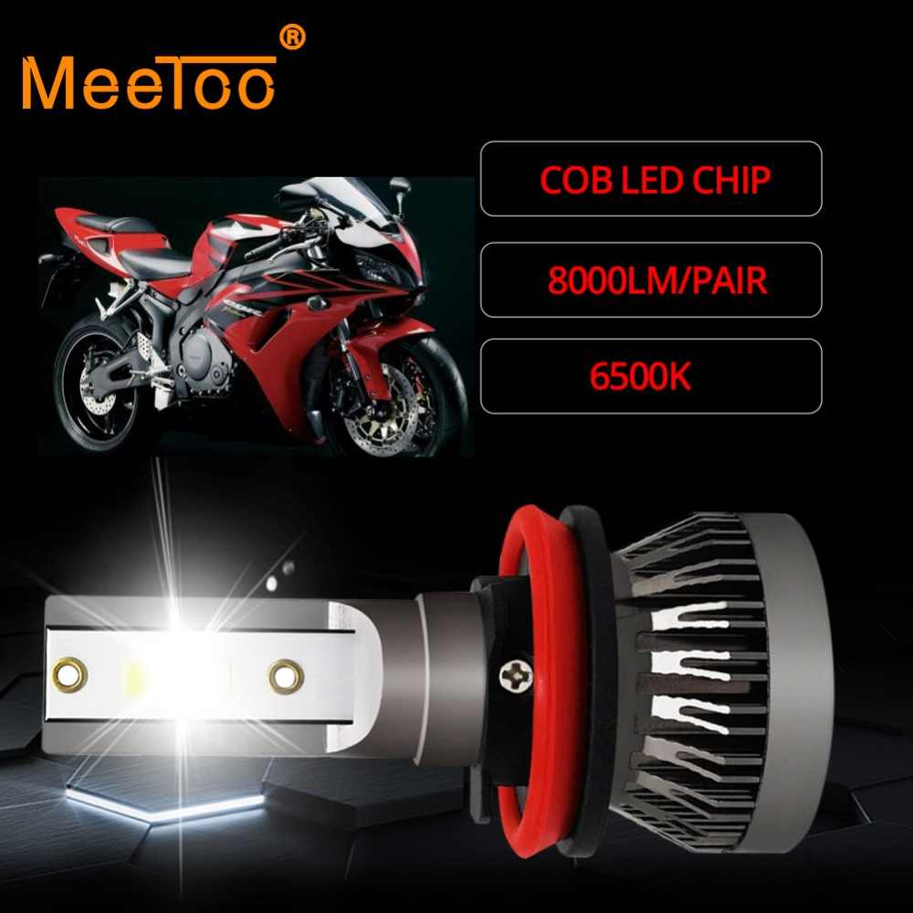 2Pcs Meetoo Motorcycle Headlight H7 Led bulb HB3 HB4 H11 9006 8000LM Motorbike Light White 6500K Moped Scooter Outdoor Lighting