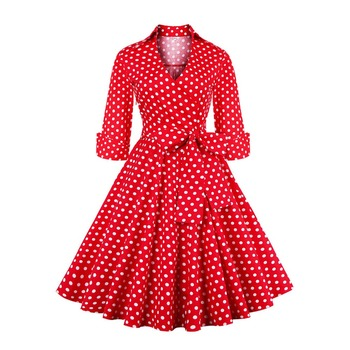 Women Casual Sweet Dress 2018 Autumn Vintage Cotton Trumpet V-Neck Pullover Belt Print Bowknot Polka Dots Girls Fashion Dresses