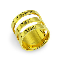 Wholesale Personalized Engraved Mother's Three Names Ring Family Banded Name Ring Gold Color