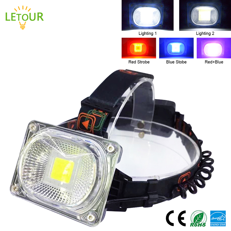 Headlamp Hight Power COB Brightest LED Waterproof 2 Lighting Modes+ Red/Blue Strobe Rechargeable 18650 Battery Included ...