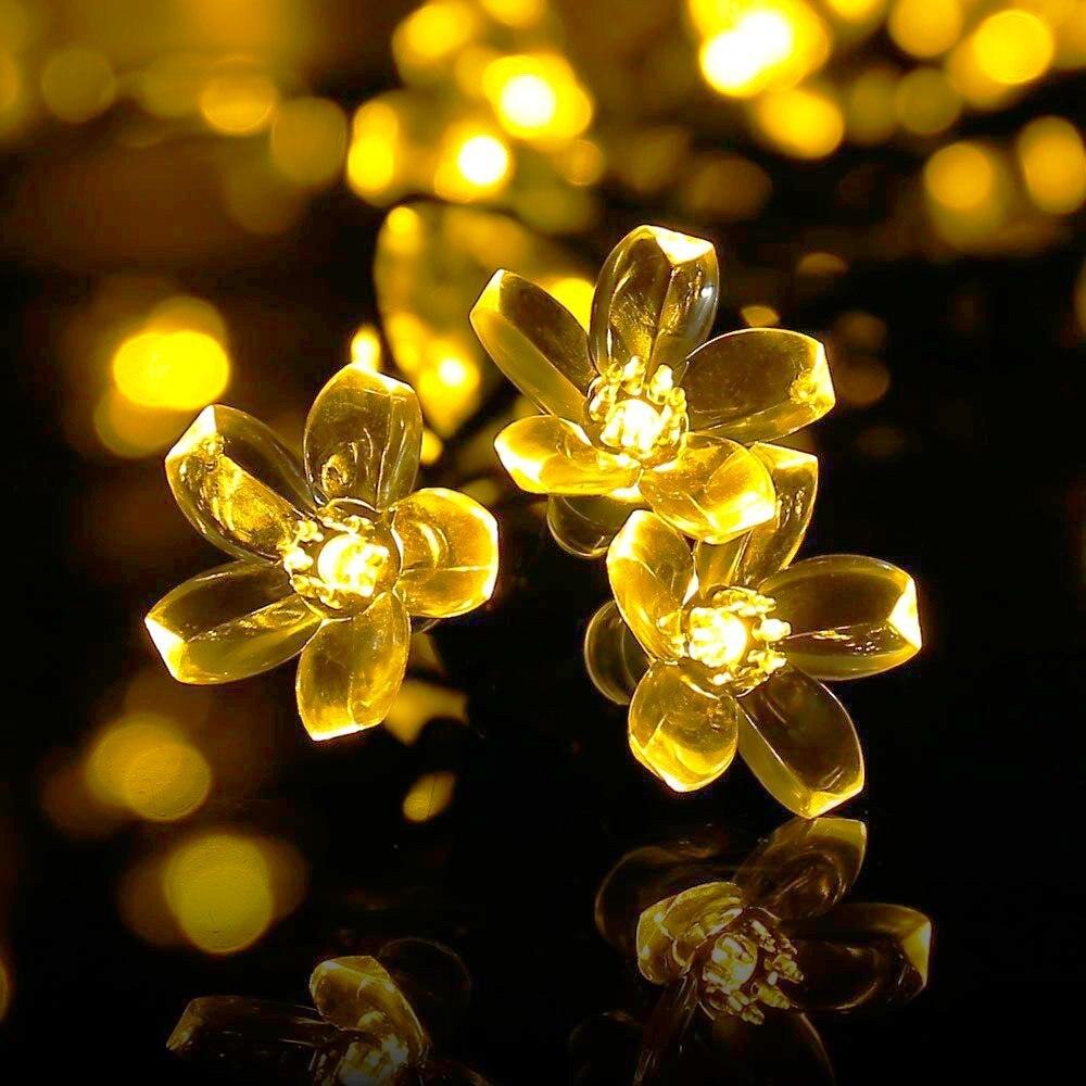 Holigoo Solar String Lights, Cherry Blossom 21ft 50 LED Outdoor ...