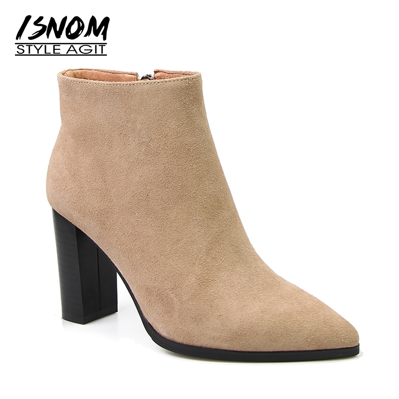 High Quality Suede Leather Winter Boots 2018 New Arrival Pointed Toe Ankle Boots Super High Square Heel Women Shoes Female apoepo new arrival suede leather high heel ankle boots pointed toe fringe ankle wrap women bootie size 35 to 41 party dress shoe