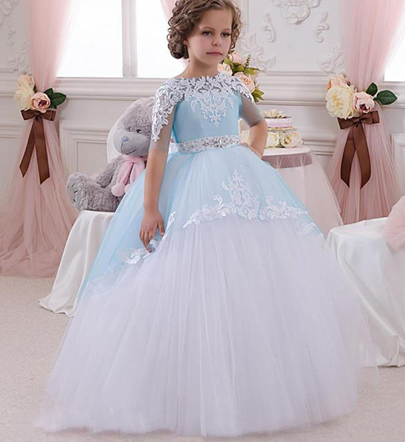 Half Sleeves Lace Lovely   Flower     Girl     Dresses   Light Sky Blue Bow Sash Crystal O Neck Kids Prom Evening   Dress   first communion Gown