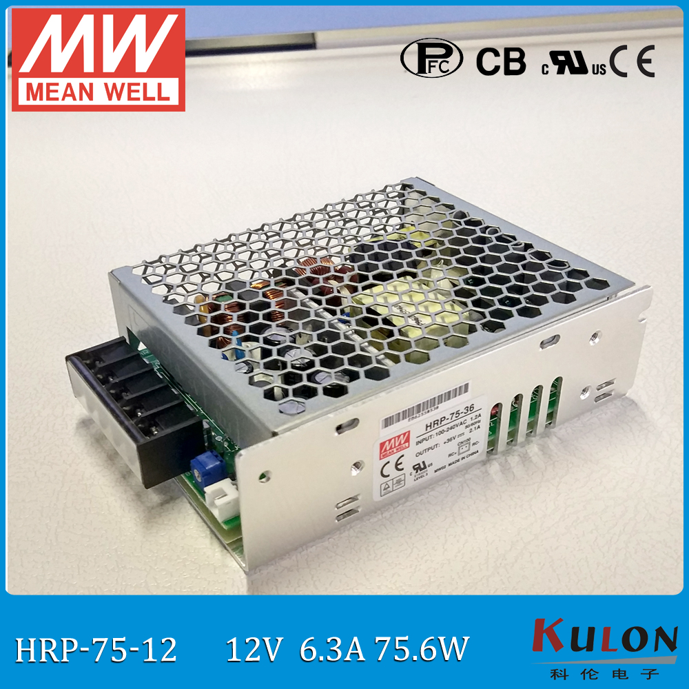 Original MEAN WELL HRP-75-12 single output 75W 6A 12V meanwell Power Supply HRP-75 with PFC function mean well original hrp 75 36 36v 2 1a meanwell hrp 75 36v 75 6w single output with pfc function power supply