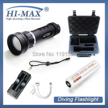 860LM CREE XM-L2 u2 LED hi-max X8 Waterproof underwater scuba Diving Flashlight Dive Torch light lamp+charger+battery+gift box scuba dive light