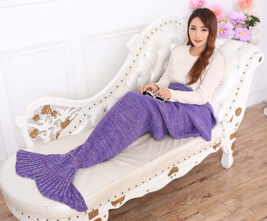 90cmx190cm Mermaid Tail Blanket Handmade Knitted Blanket New Fashion Fish Tail Sofa Blanket TV wool Home Travel Picnic Blanket