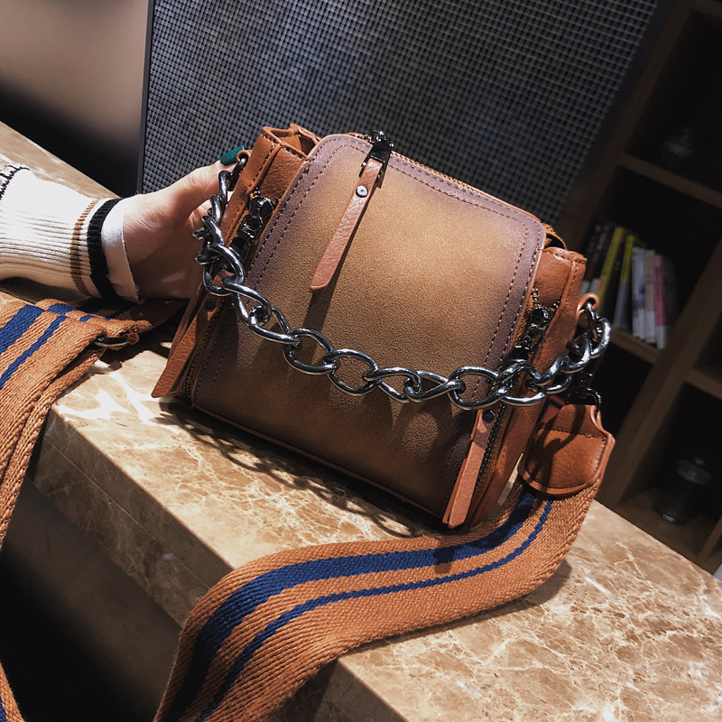 Shaped Scrub Leather Design Crossbody Bag 2018 new high quality Women bag Chain Stripe Wide Strap Shoulder Bag Flap Bucket Bag lemon design chain bag