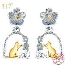купить U7 Real 925 Sterling Silver Creative Animal Jewelry Cat/ Bird sit in the Garden Drop Earrings for Women Girl Brincos Femme SC279 по цене 1121.27 рублей