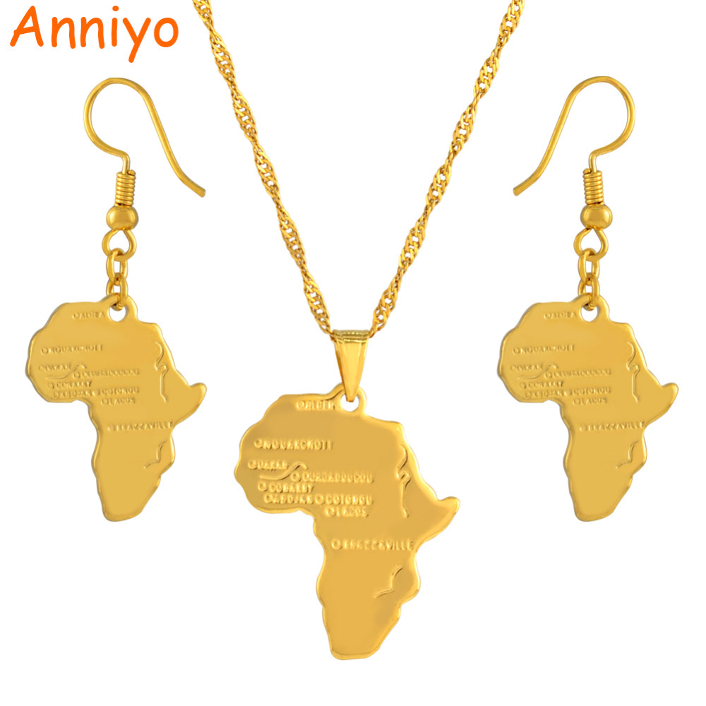 Anniyo Africa Map Jewelry set Pendant Necklaces Earrings Gold Color Map of African Ethiopian Nigeria Sudan Congo sets #002306S anniyo turkey map