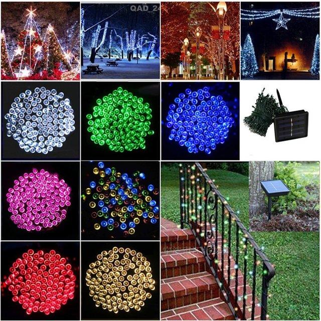 Luz LED de Cadena 200 LEDs/20 M Solar de Colores de Vacaciones de Iluminación LED A Prueba de agua Al Aire Libre Decoración Luz De Navidad