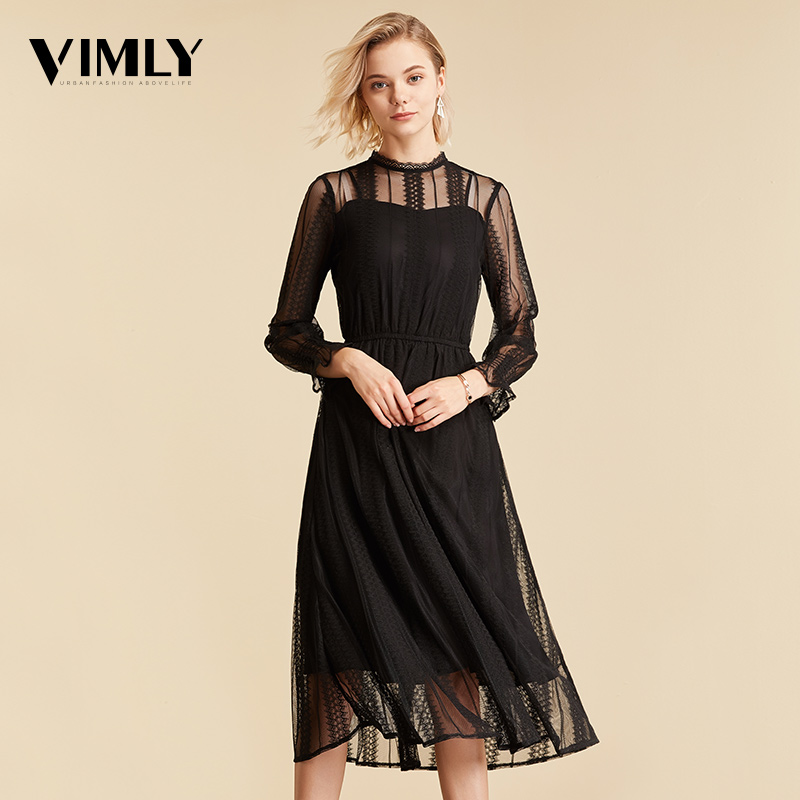 Vimly Elegant Mesh Lace Embroider Women Dress Stand-Neck Flare Sleeve Party Dresses Sexy Midi Elastic Waist Hollow Out Dress