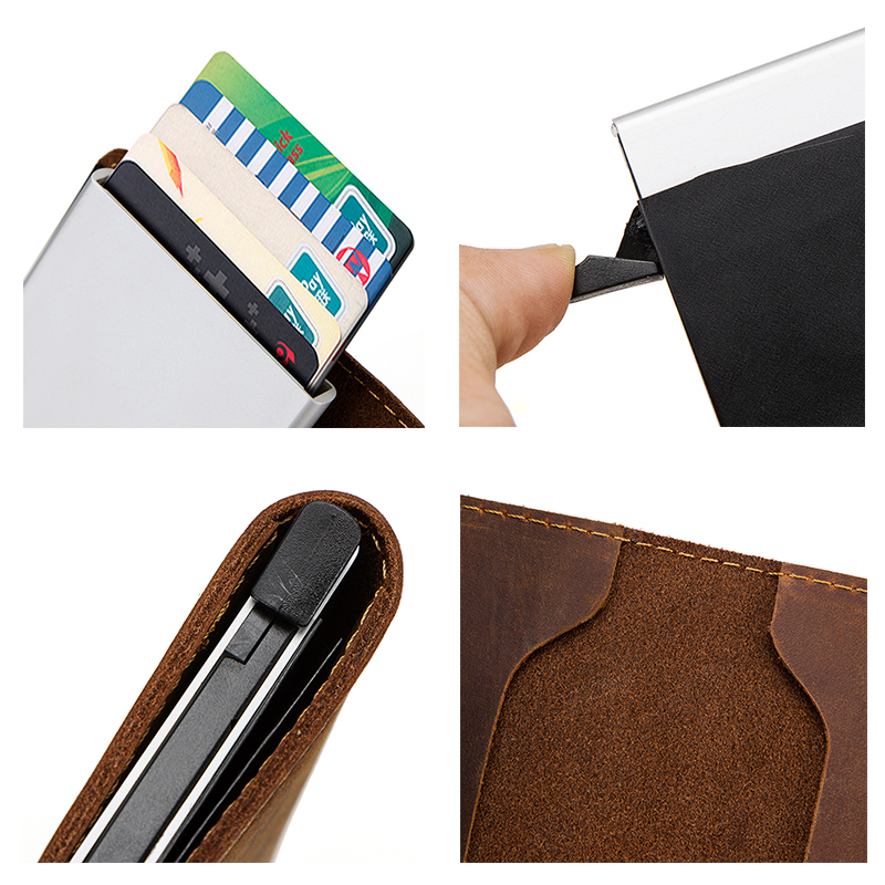 Contact 39 s Vintage Credit Card Holder Wallet Genuine Leather Card Case Metal Men Aluminium Blocking Holder for Cards Travel Purse in Card amp ID Holders from Luggage amp Bags