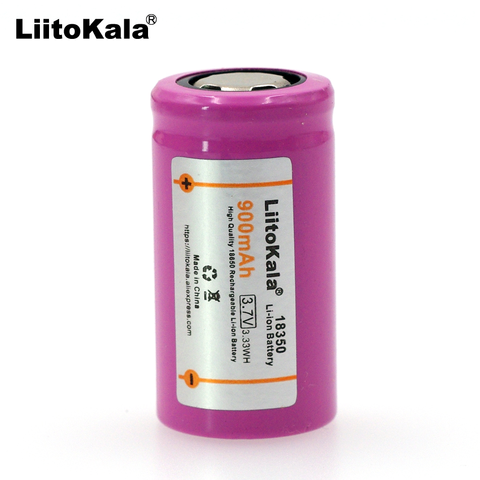 Liitokala ICR18350 li-lon battery 900mAh Rechargeable battery 3.7V power cylindrical Lamps Electronic cigarette smoking