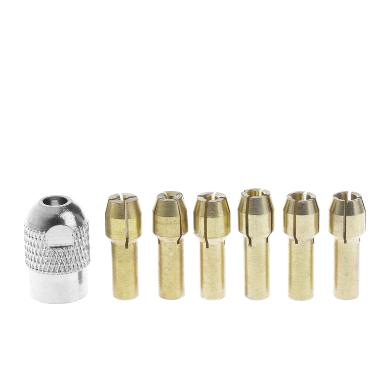 7pcs/lot Dremel Brass Collet 1.0/1.6/2.0/2.4/3.0/3.2 +dremel Check M8*0.75 Fits Dremel Rotary Tools Dremel Accessories
