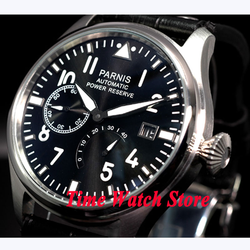 Parnis 47mm black dial white marks luminous power reserve ST2530 Automatic movement  Mens watch 98Parnis 47mm black dial white marks luminous power reserve ST2530 Automatic movement  Mens watch 98