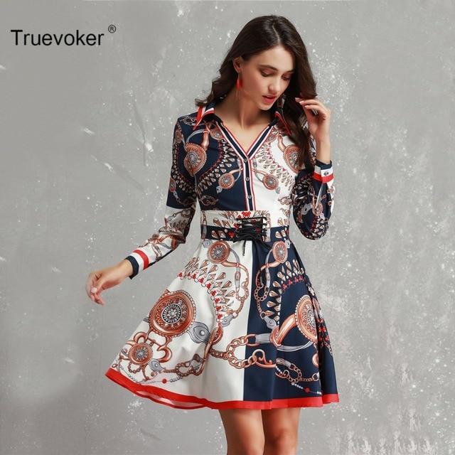 Truevoker Designer Europe High Street Dress Vestido Women s Long Sleeve  Abstract Printed With Corset Casual Robe Femme Ete a012d736b780