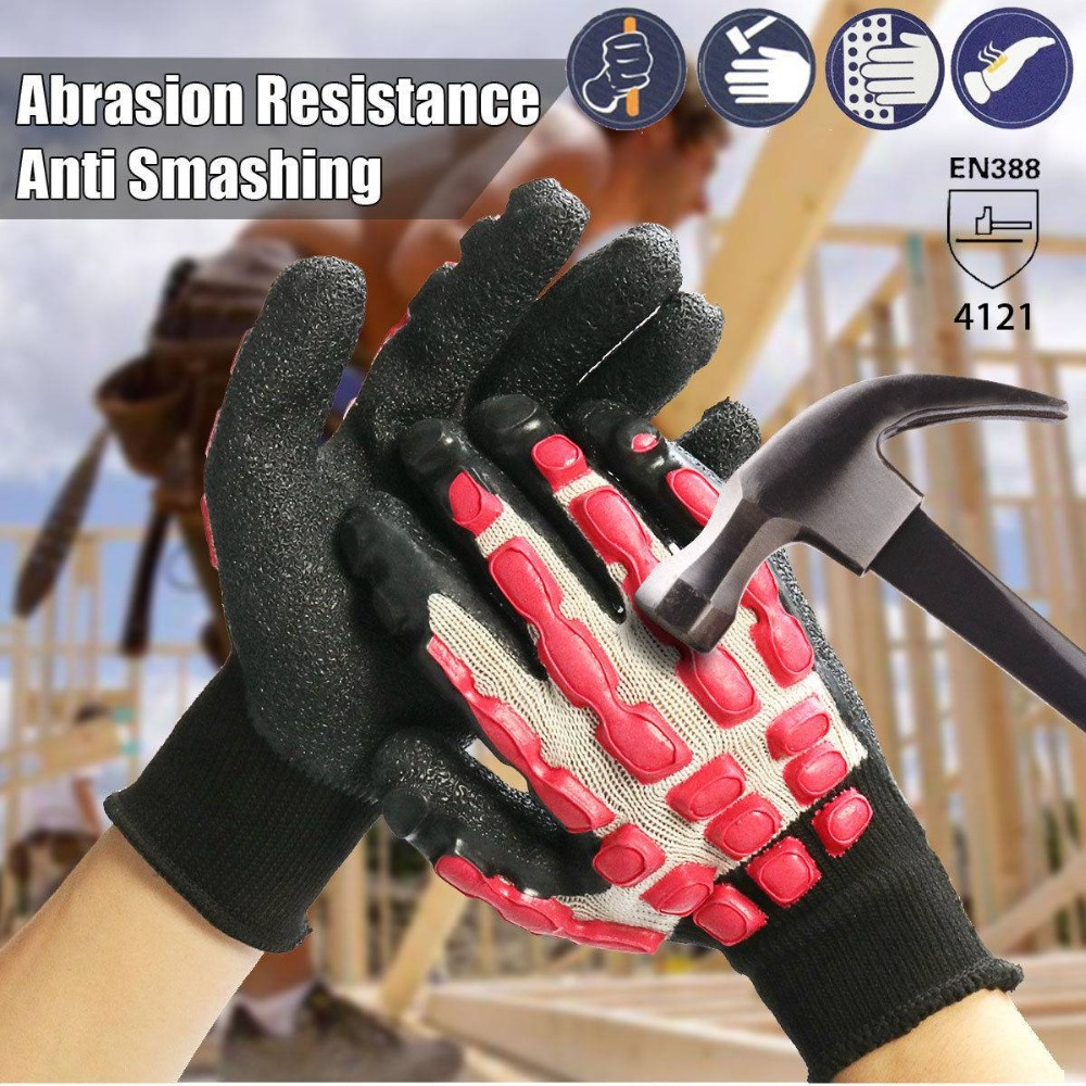 1 Pair L/9 Anti Vibration Work Gloves Shock Absorbing Heavy Duty Shock Impact Resistant Breathable Anti Smashing Safety Gloves Convenience Goods