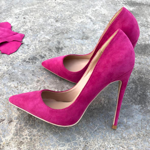 Keshangjia Top Quality Woman Hot Pink High Heel Slip-on Wedding Shoes Pointed Toe Evening Party stilettos Heel Pump