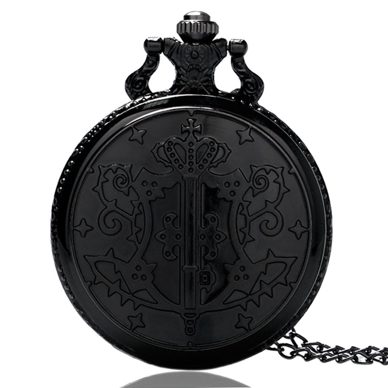 Cool Cartoon Anime Kuroshitsuji Designer Pocket Watch Quartz Round Fob Clock Steampunk Men Women Gift With Necklace Chain retro steampunk bronze pocket watch eagle wings hollow quartz fob watch necklace pendant chain antique clock men women gift