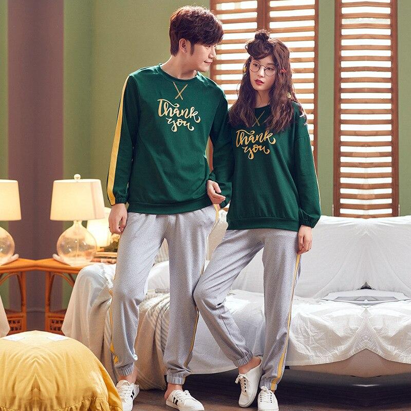 Autumn Winter Long Sleeved Couple   Pajamas     Set   Cotton Pyjamas Women Pijama Mujer Lovely Sleepwear Homewear Nightgown M-2XL