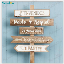 Bienvenidos имя и Дата Ceremonia вечерние, испанские, свадебные доски, приём, знак, наклейка, съемная виниловая наклейка на стену s SE035