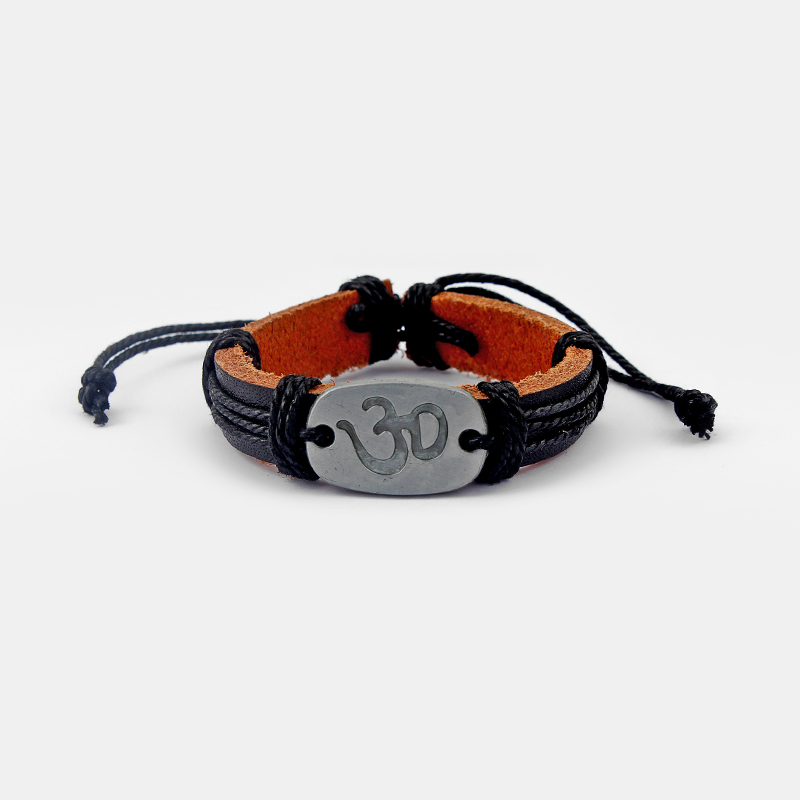 A Black Leather OM OHM AUM YOGA Symbol Wristband Bracelet Bangle Adjustable