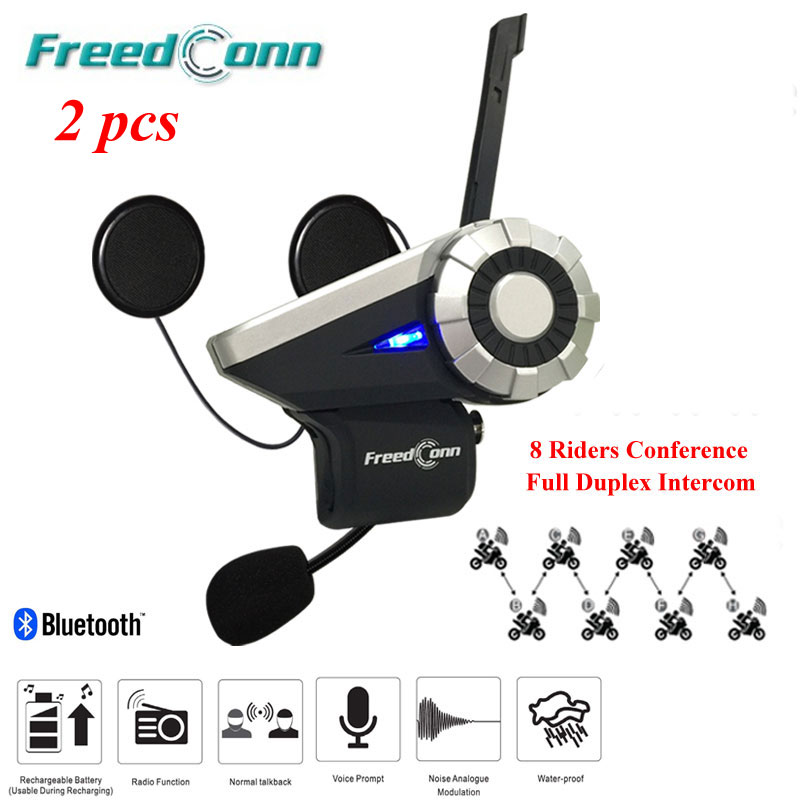 2 Set Latest T-Rex Interphone Bluetooth Helmet Intercom Headset 8 Riders Full Duplex Motorcycle Group Talk System 1500M+FM Radio
